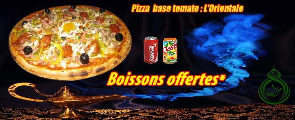 pizza orientale, boissons offertes